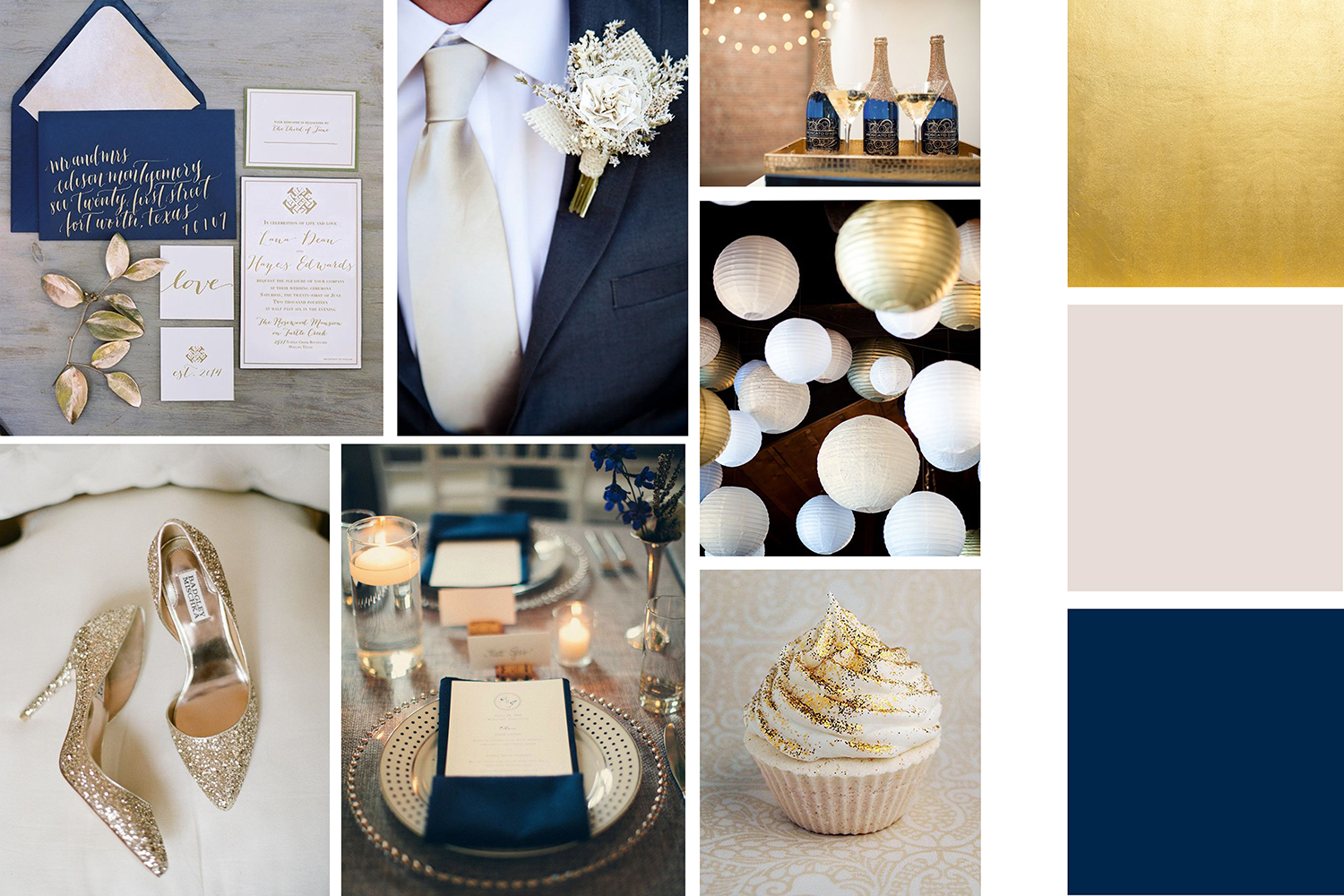Winter wedding colors navy gold ivory