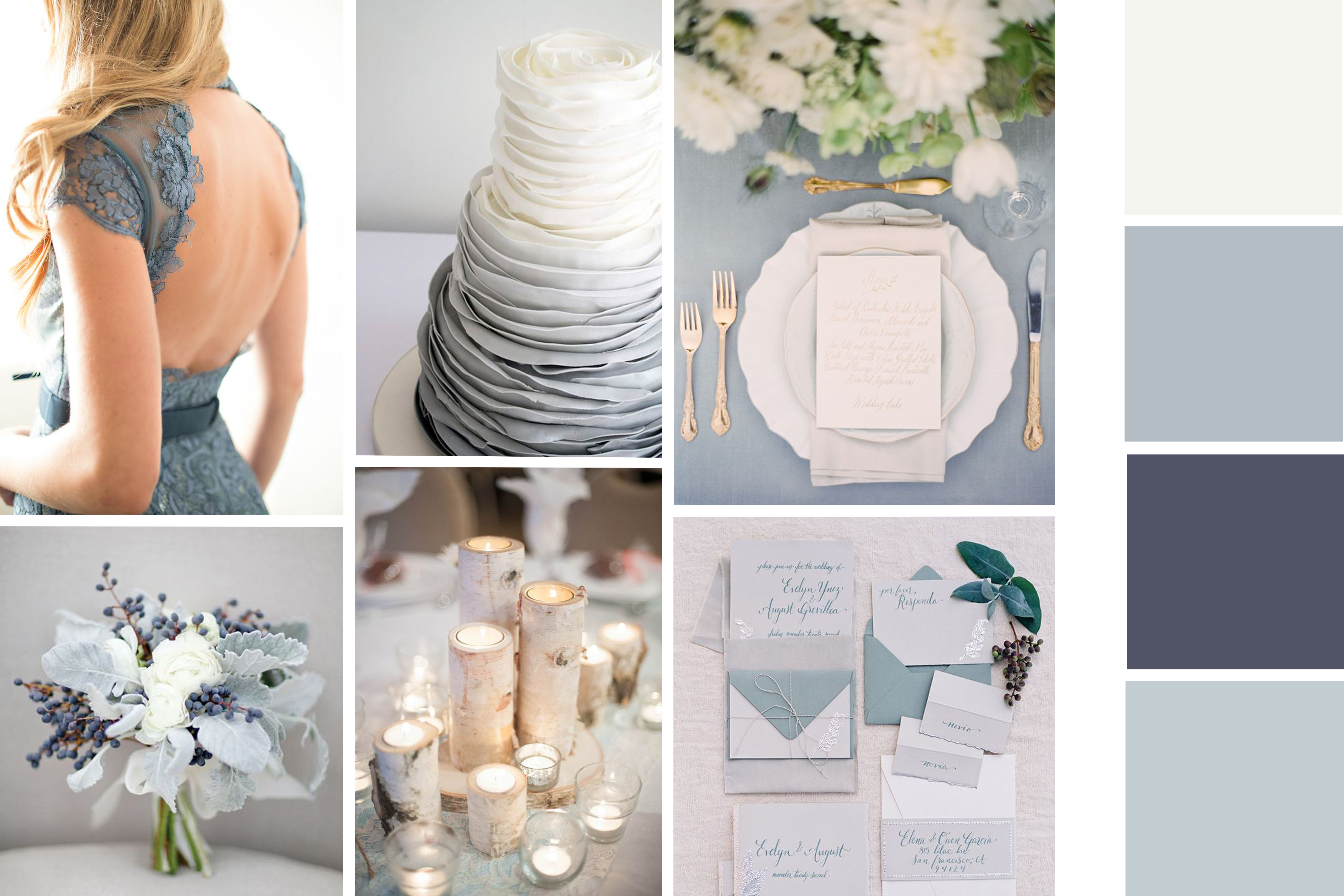 Winter wedding dusty blue white