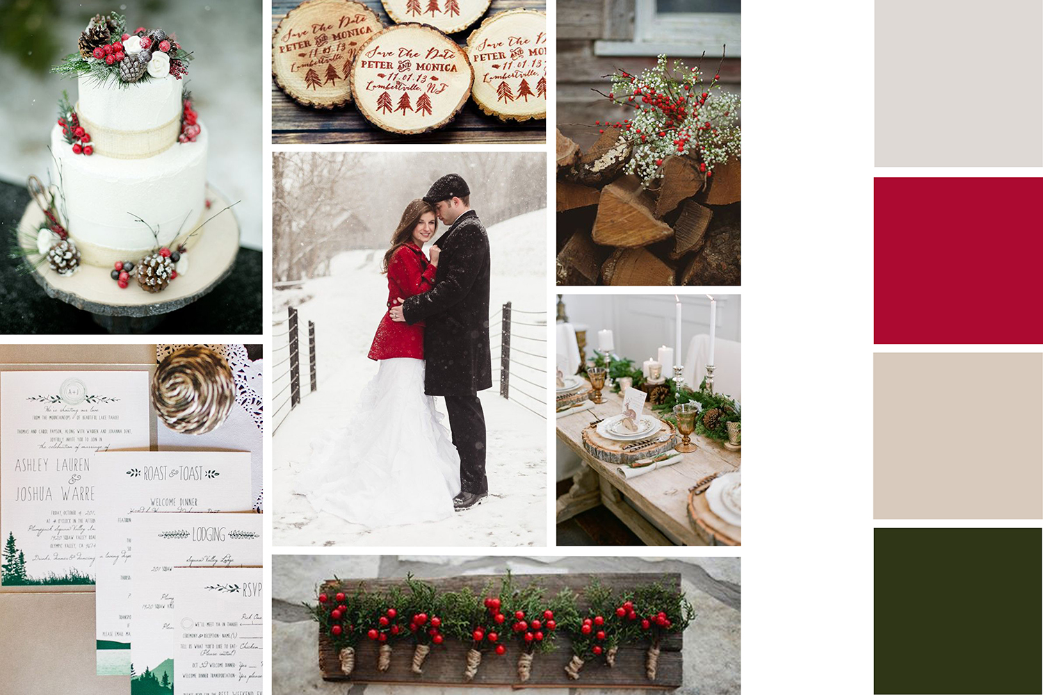 winter wedding colors_red green